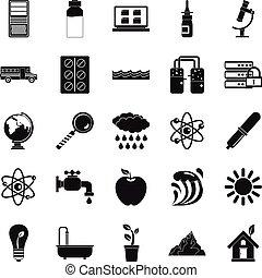 style, icônes, ensemble, élément, chimique, simple