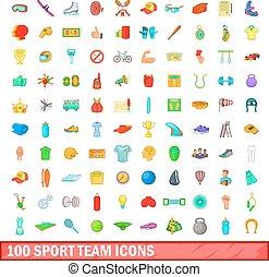 style, icônes, ensemble, équipe, 100, sport, dessin animé