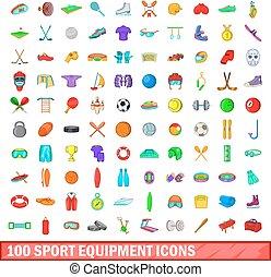 style, icônes, ensemble, équipement, 100, sport, dessin animé
