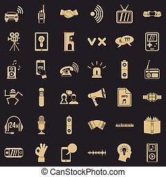 style, icônes, ensemble, équipement, audio, simple