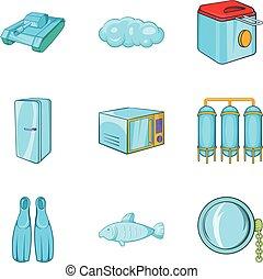 style, icônes, ensemble, équipement, dessin animé, bateau