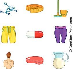 style, icônes, ensemble, équipement, dessin animé, exercice