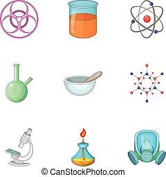 style, icônes, ensemble, équipement, laboratoire, dessin animé