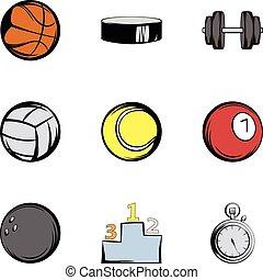 style, icônes, ensemble, équipement, sport, dessin animé
