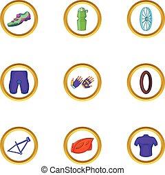 style, icônes, ensemble, équipement, vélo, dessin animé