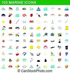 style, icônes, ensemble, 100, marin, dessin animé