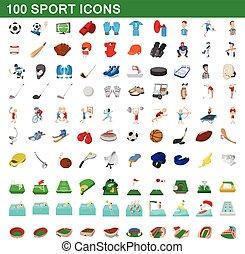 style, icônes, ensemble, 100, sport, dessin animé
