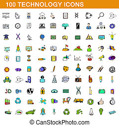 style, icônes, ensemble, 100, technologie, dessin animé