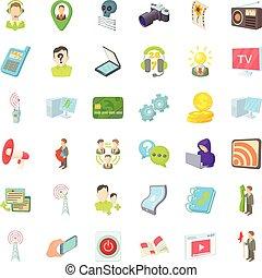 style, icônes, ensemble, agence, télégraphe, dessin animé
