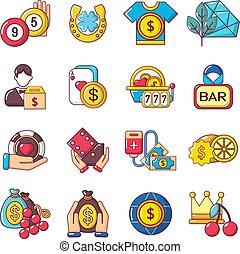 style, icônes, ensemble, argent, facile, dessin animé