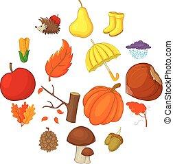 style, icônes, ensemble, articles, automne, dessin animé