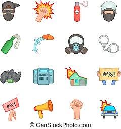 style, icônes, ensemble, articles, protestation, dessin animé