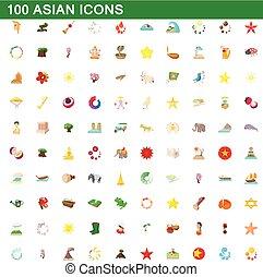 style, icônes, ensemble, asiatique, 100, dessin animé