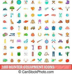 style, icônes, ensemble, chasseur, équipement, 100, dessin animé