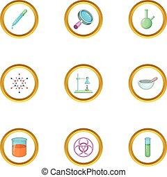 style, icônes, ensemble, chimique, équipement, dessin animé