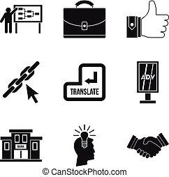 style, icônes, ensemble, commercer, simple, international