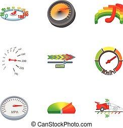 style, icônes, ensemble, compteur vitesse, dessin animé, transport