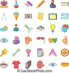 style, icônes, ensemble, dessin animé, informatique, dessin