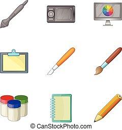 style, icônes, ensemble, dessin animé, informatique, outils, dessin