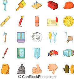 style, icônes, ensemble, dessin animé, rénovation du logement