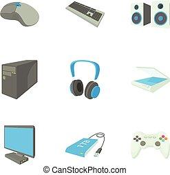 style, icônes, ensemble, données ordinateur, dessin animé