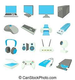 style, icônes, ensemble, equipmen, informatique, dessin animé