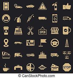 style, icônes, ensemble, essence, simple, station