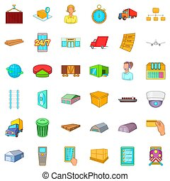 style, icônes, ensemble, grand, entrepôt, dessin animé