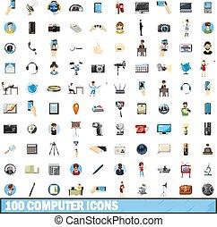 style, icônes, ensemble, informatique, 100, dessin animé