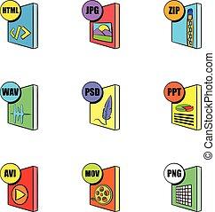 style, icônes, ensemble, informatique, fichier, dessin animé