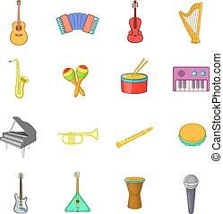 style, icônes, ensemble, instruments, dessin animé, musical