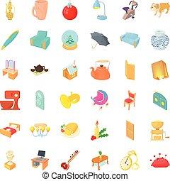 style, icônes, ensemble, intérieur, maison, dessin animé