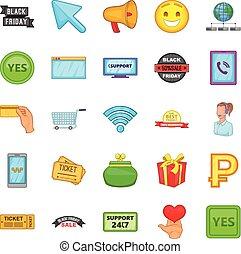 style, icônes, ensemble, ligne, dessin animé, magasin