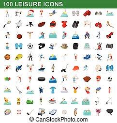style, icônes, ensemble, loisir, 100, dessin animé