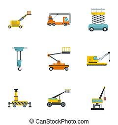 style, icônes, ensemble, machinerie construction, dessin animé
