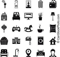 style, icônes, ensemble, maison, repos, simple, petit