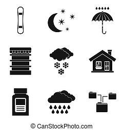 style, icônes, ensemble, maison, représentants, simple