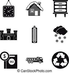 style, icônes, ensemble, maison, simple, coûteux
