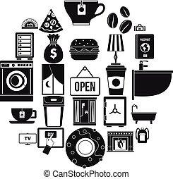 style, icônes, ensemble, maison, simple, vacances