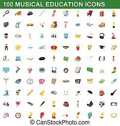 style, icônes, ensemble, musical, 100, education, dessin animé