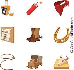 style, icônes, ensemble, ouest, cowboys, sauvage, dessin animé