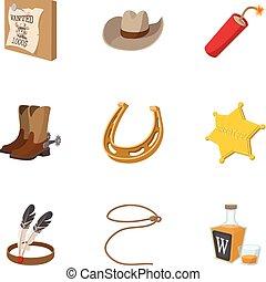 style, icônes, ensemble, ouest, sauvage, amérique, dessin animé