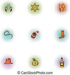 style, icônes, ensemble, ouest, sauvage, amérique, pop-art