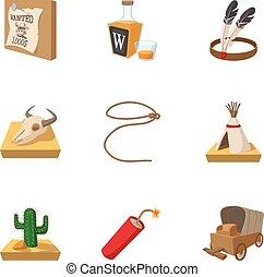 style, icônes, ensemble, ouest, sauvage, dessin animé
