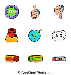 style, icônes, ensemble, oui, dessin animé, geste