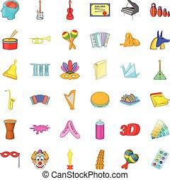 style, icônes, ensemble, outillage, dessin animé, dessin