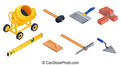 style, icônes, ensemble, ouvrier, isométrique, maçonnerie