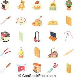style, icônes, ensemble, ouvrier, maison, dessin animé