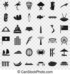 style, icônes, ensemble, pays, simple, asiatique