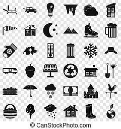 style, icônes, ensemble, pays, simple, maison